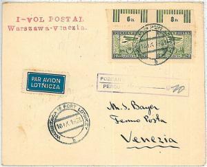 AVIATION - POSTAL HISTORY  POLAND : AIRMAIL COVER - Warzsaw to Venice
