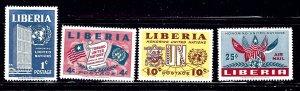 Liberia 338-40 and C70 MNH 1957 U.N.    (ap1536)