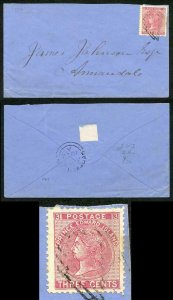 PRINCE EDWARD Is SG45 1872 3c rose perf 12.5-13 on Cover