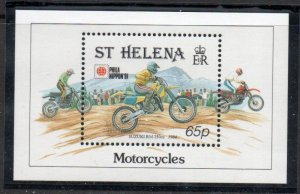 St Helena Sc 565 1991 Motorcycle stamp sheet mint NH