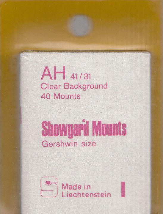 SHOWGARD CLEAR MOUNTS AH 41X31 (40) RETAIL PRICE $3.95