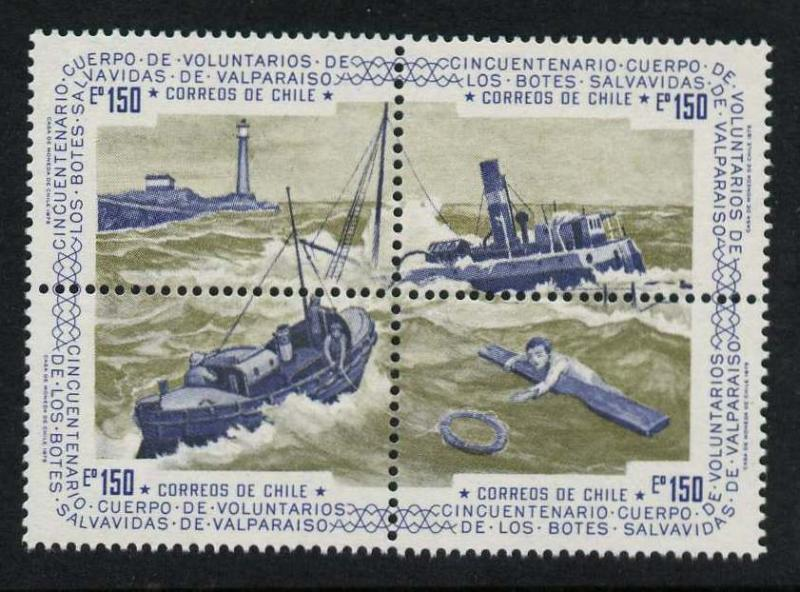Chile 460 MNH Lighthouse, Lifeboat Service, Ships