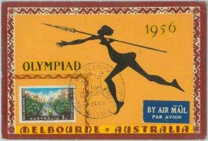 83749 - AUSTRALIA - Postal History -   MAXIMUM CARD  1956  Olympic Games