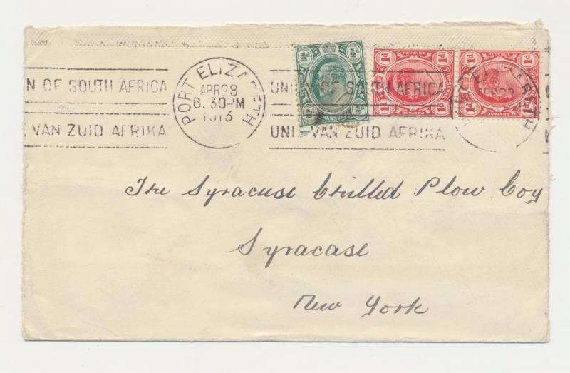 TRANSVAAL 1913 COVER, PORT ELIZABETH TO NEW YORK, 2x1d+½d RATE (SEE BELOW