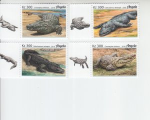 2019 Angola Crocodiles (4) (Scott NA) MNH