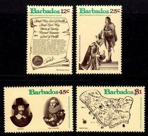 BARBADOS - 1977 - CHARTER - 350th  ANNIVERSARY - MAP - SCROLL + MINT - MNH SET!