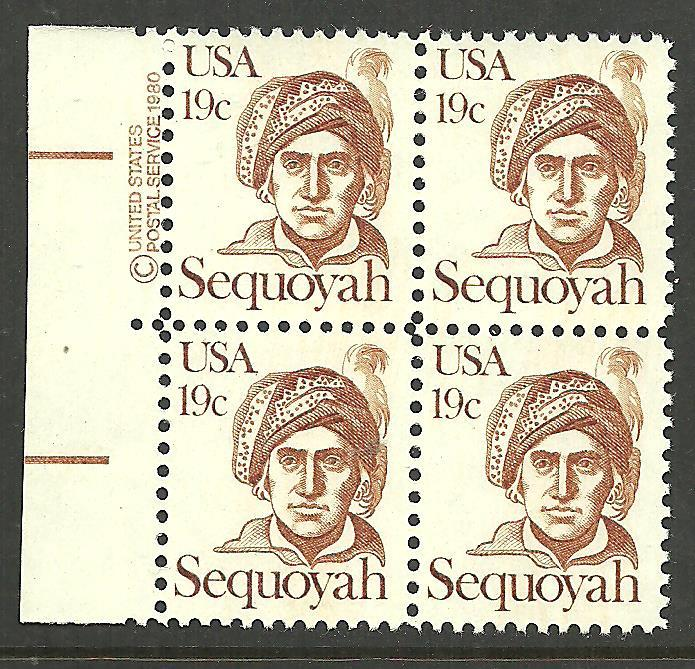 #1859 Sequoyah Copy Block Mint NH