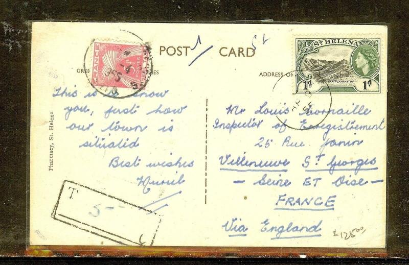 ST. HELENA  (P2909B) QEII 1D ON PPC TO FRANCE WITH FRENCH POSTAGE  DUE