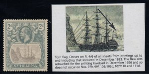 St. Helena, SG 100b, MHR (light pencil on gum) Torn Flag variety
