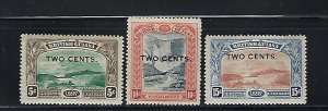 BRITISH GUIANA SCOTT #157-159  1899  TWO CENTS SURCHARGES  - MINT HINGED