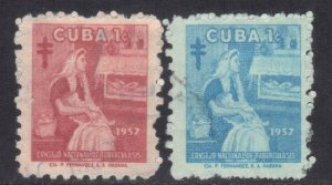 CUBA SC# RA35+36  **USED** 1957  1c     SEE SCAN