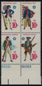 1565 -1568a Multiple Color & Perf Shift Error / EFO Blk4 Military Uniforms MNH