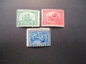 US Stamps S#548-550, 3v Pilgrim, 1c 2c MNH OG, 5c MH OG