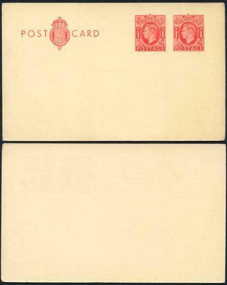 CP96 KGVI 1d Carmine Post Office Issue Postcard on thin cream card Mint