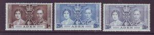 J22023 Jlstamps 1937 aden set mh #13-5 coronation