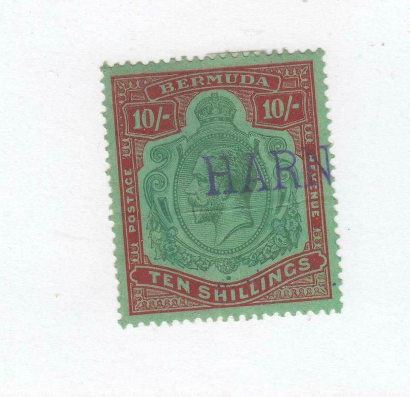 BERMUDA # 53 VF-PART NAME USED 10sh KING GEORGE V RED & GREEN CAT VALUE $425