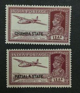 MOMEN: INDIA CHAMBA SG #91,93 1938 CHAMBA/PATIALA MINT OG H LOT #193898-2495