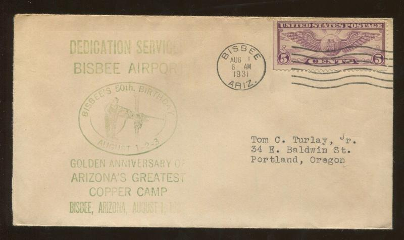 1931 Dedication Service Bisbee Airport Arizona Copper Camp Cover US Stamp #C16