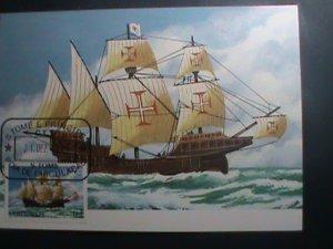 ST.THOMAS-1979-SC#536 MAXIMUM- CARD-HISTORY OF NAVIGATION-SHIPS MNH SHEET VF