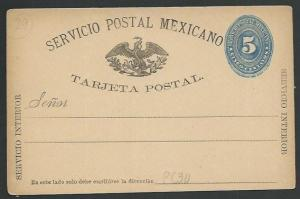 MEXICO 1880s 5c postcard unused............................................60371