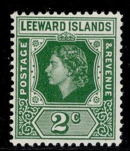 LEEWARD ISLANDS QEII SG128, 2c green, NH MINT.