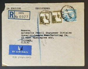 1945 Haifa Palestine to Chicago IL Registered Haskala Advertising Air Mail Cover