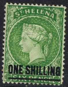 ST HELENA 1884 QV 1/- ON 6D WMK CROWN CA