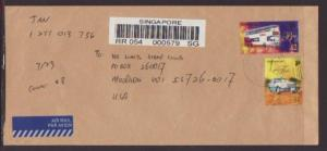 Singapore to Madison,WI 2001 Registered  # 10 Size Cover
