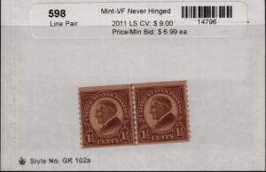 US 598 MNH Line Pair