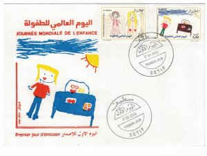 Algeria 2002 FDC Stamps Scott 1245-1246 Children's Day Drawings Car