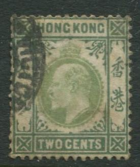 Hong Kong -Scott 72 - KEVII Definitive -1903 - Used - Single 2c Stamp