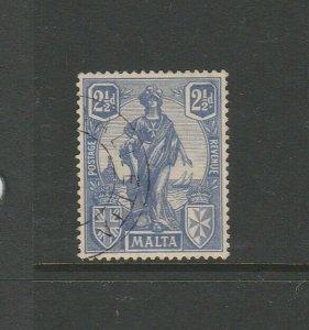 Malta 1922/6 2 1/2d Ultramarine VFU SG 129