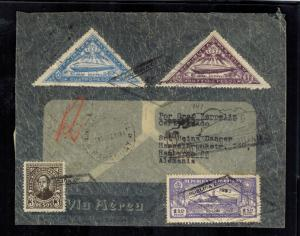 1932 Paraguay Graf Zeppelin Cover to Hamburg Germany LZ 127 Triangle Stamps