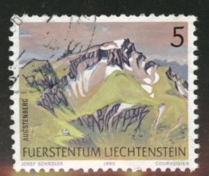LIECHTENSTEIN Scott 930 Used CTO 1990 mountain stamp