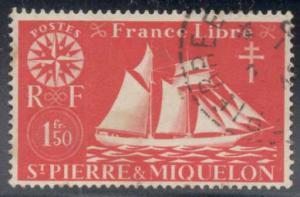 St Pierre & Miquelon ~ #307 ~ Fishing Schooner ~ Used