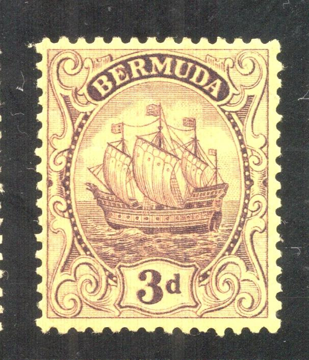 Bermuda #89 Violet on Yellow Paper - Unused - O.G.