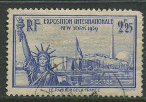 France - Scott 372 - General Issue -1939 - Used -Single 2.25fr Stamp