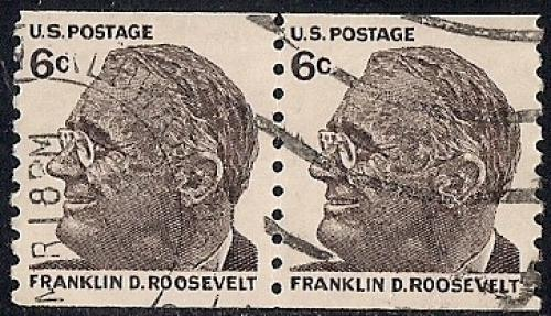 1305 6 Cent Franklin D Roosevelt Coil Pair XF Used