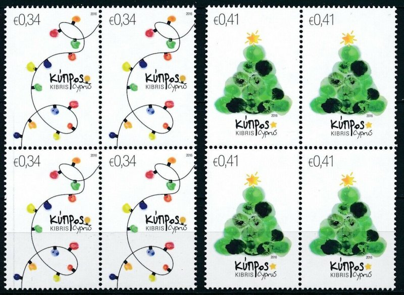 [I1926] Cyprus 2016 Christmas good set in bloc of 4 stamps very fine MNH