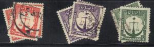 PAKISTAN   SC# 25 25 26 **USED** 1948-57   SEE SCAN