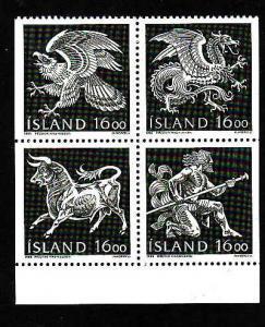 Iceland-Sc#659a-unused NH block-Guardian Spirit-Birds-Dragons-1988-