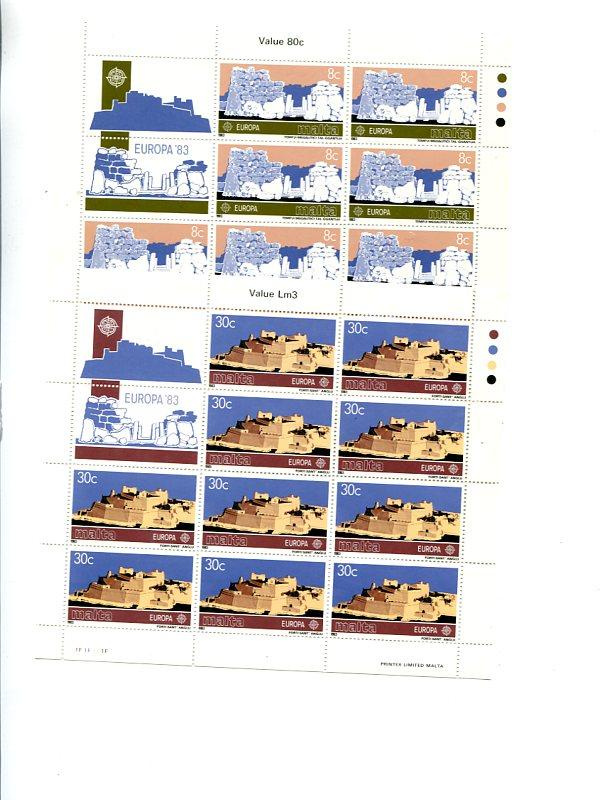 Malta  1983   Europa sheets VF NH  - Lakeshore Philatelics