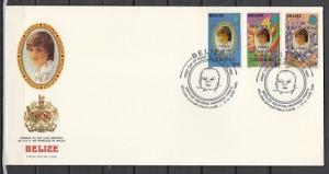 Belize, Scott cat. 631-633. Prince William o/p Small stamps. First day cover. ^