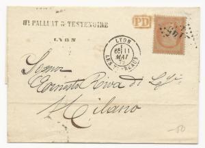 France Scott #59b Tid on Cover VF 1872