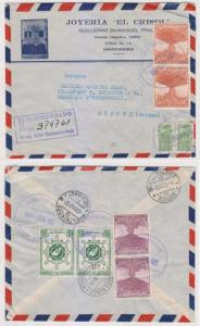 COLOMBIA 1955 Sc C244 & RA42 ON R-AIR DECO COVER BARRANCA BERMEJA-BIENNE VF