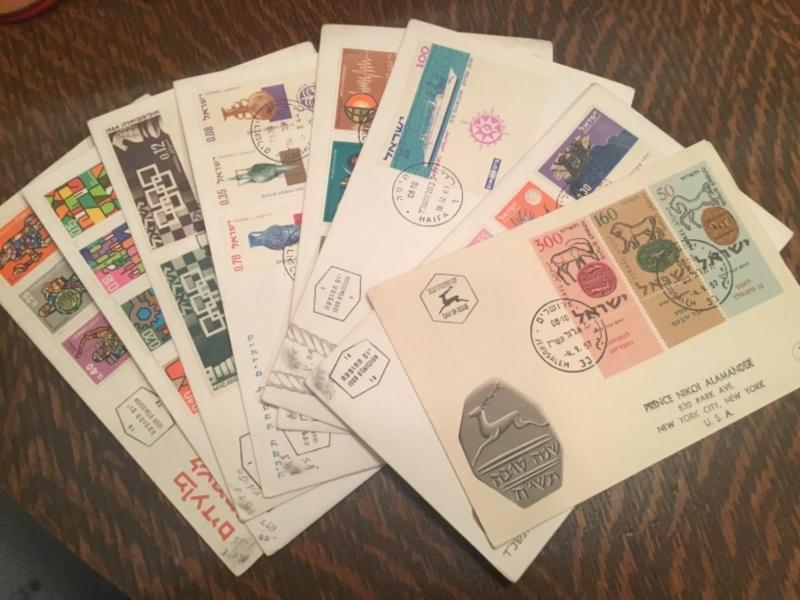 Israel First Day Cover Lot with Tab stamps Color Cachet (NG025)