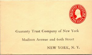 Guarantee Trust Company of NY unused postal stationery return envelope