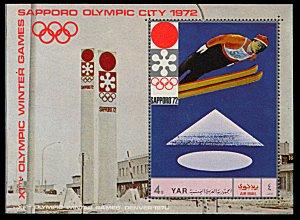 Yemen 284A, MNH, Sapporo Winter Olympic Games souvenir sheet