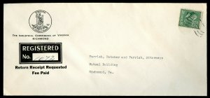 U.S. Scott 825 Solo Prexie on 1941 Registered Return Receipt Richmond, VA Cover