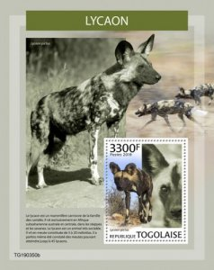 TOGO - 2019 - African Wild Dogs - Perf Souv Sheet - MNH